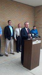 Fargo Police Chief Keith Ternes announcing suspect arrest