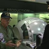 Fred Zurbuchen, 89, finally receives his Purple Heart after 70 years at the EAA Museum in Oshkosh on September 18, 2014. (Photo from: FOX 11/YouTube).