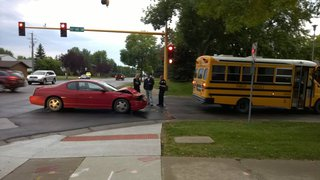 Car hits bus in the 25th St. construction zone in Fargo.