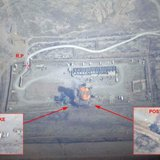 A handout image, provided on September 19, 2014 by ECPAD, shows a photo montage of a logistics depot in northeastern Iraq before and after a mission by French Rafale fighter jets from the Al-Dhafra airbase. CREDIT: REUTERS/ECPAD - ARMEE DE L'AIR