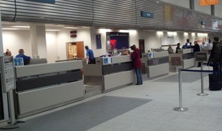 A ticket counter at Austin Straubel International Airport in Ashwaubenon is seen on Thursday, March 27, 2014. (Photo from: FOX 11).