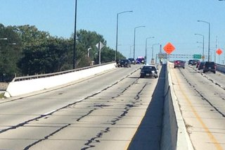Police vehicles involved in a crash on the Mason Street Bridge in Green Bay on September 23, 2014. (Photo from: FOX 11).