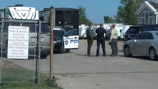 Police on the scene at Larry's RV in Moorhead where a body believed to be that of missing NDSU student Tommy Bearson has been found.