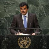 Sheikh Tamim bin Hamad Al-Thani, amir of Qatar, addresses the 69th United Nations General Assembly at U.N. headquarters in New York, September 24, 2014. CREDIT: REUTERS/MIKE SEGAR