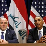 U.S. President Barack Obama meets with Iraqi Prime Minister Haider al-Abadi during the United Nations General Assembly in New York September 24, 2014. CREDIT: REUTERS/KEVIN LAMARQUE