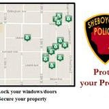 A map of the vehicle entry incidents on the city's south side in late September 2014.  Courtesy of Sheboygan Police
