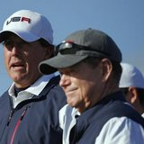 U.S. Ryder Cup player Phil Mickelson (L) stands with captain Tom Watson on the sixth tee during his fourballs 40th Ryder Cup match at Gleneagles in Scotland September 26, 2014. CREDIT: REUTERS/PHIL NOBLE