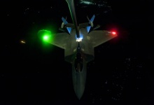 A F-22 Raptor refuels before operations in Syria. Reuters/Russ Scalaf/USAF Handout