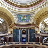 """Interior of the Wisconsin State Capitol by Ryan Wick; panel of glass mosaic representing """"Liberty"""" designed by Kenyon Cox (October 27, 1856 – March 17, 1919) , according to wisconsin.gov [CC-BY-2.0 (http://creativecommons.org/licenses/by/2.0)], via Wikimedia Commons.com"""