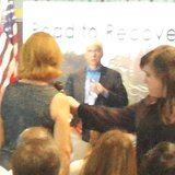 Governor Snyder takes question from a teacher in the audience about his plans for education.  (Photo by John McNeill)