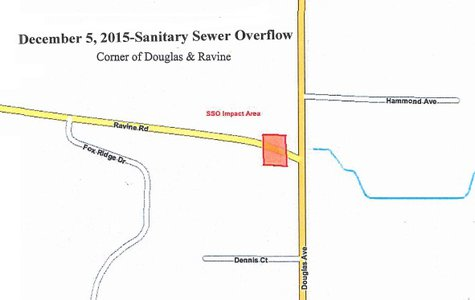 The red square on the map represents the area impacted by the sewer overflow.  (graphic provided by City of Kalamazoo)