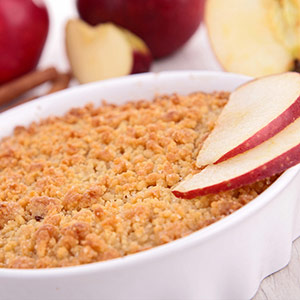 Dish of apple crumble.