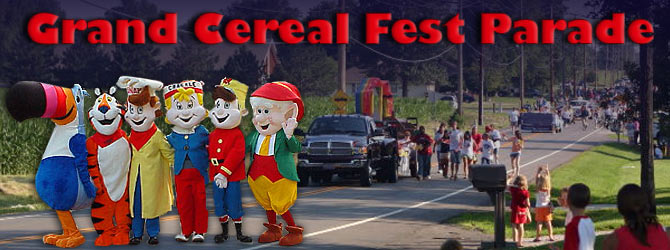 Cereal Fest Parade image with Tony the Tiger, Toucan Sam and Snap, Crackle and Pop
