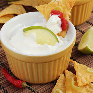 Chipotle Lime Dip topped with a lime wedge