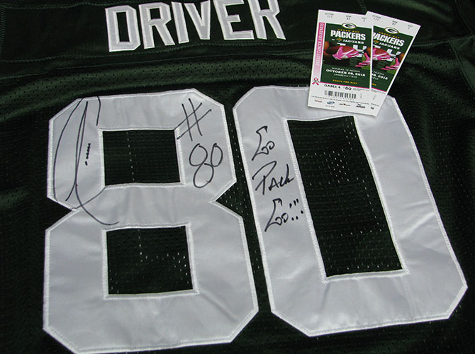 Driver jersey and Packers tickets photo