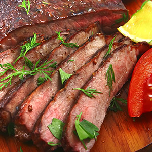 Sliced, broiled steak.