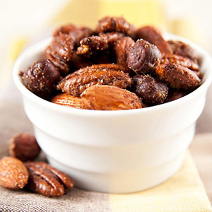 Bowl of spiced nuts.
