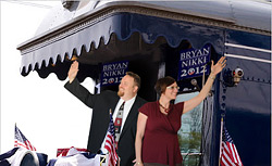Bryan and Nikki Campaigning on a Train
