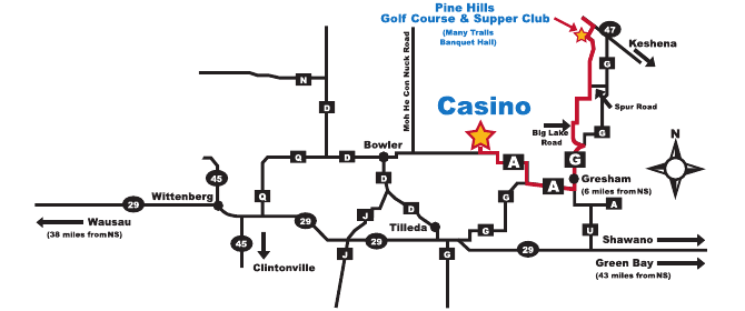Map of Bowler, WI and North Star Mohican Casino