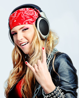 Rocker Chick Listening To Music