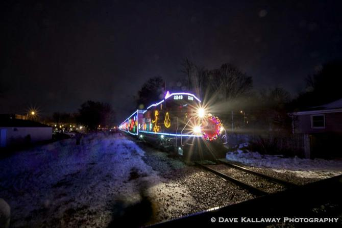 the best at nightin this case its the canadian pacific holiday train which was traveling through wisconsin completely lit up with christmas lights