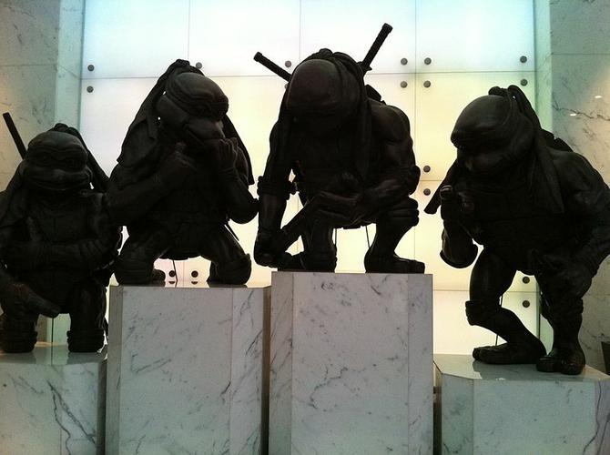 Statues standing in office lift lobby hall at The Toy House, No.100 Canton Road, Tsim Sha Tsui, Hong Kong