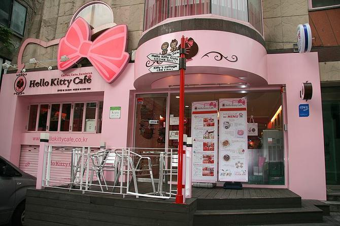 Hello Kitty cafe at 94-3 Eoulmadang-ro (358-112 Seogyo-dong), on an uphill alley off Eoulmadang-ro, in Hongdae, Mapo-gu, Seoul in 2012