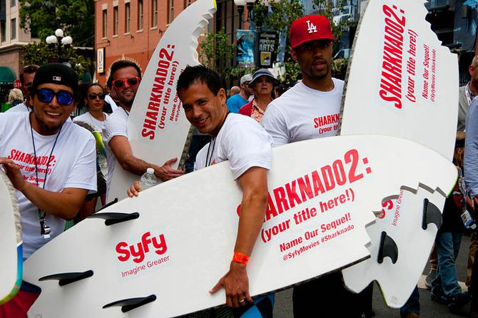 People promoting Sharknado 2 at San Diego Comic Con International in 2013