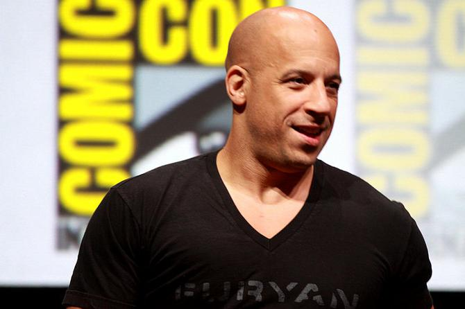 "Vin Diesel speaking at the 2013 San Diego Comic Con International, for ""Riddick"", at the San Diego Convention Center in San Diego, California."