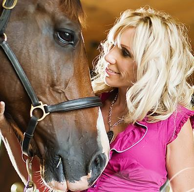 Vickie Emanuele speaking with a horse