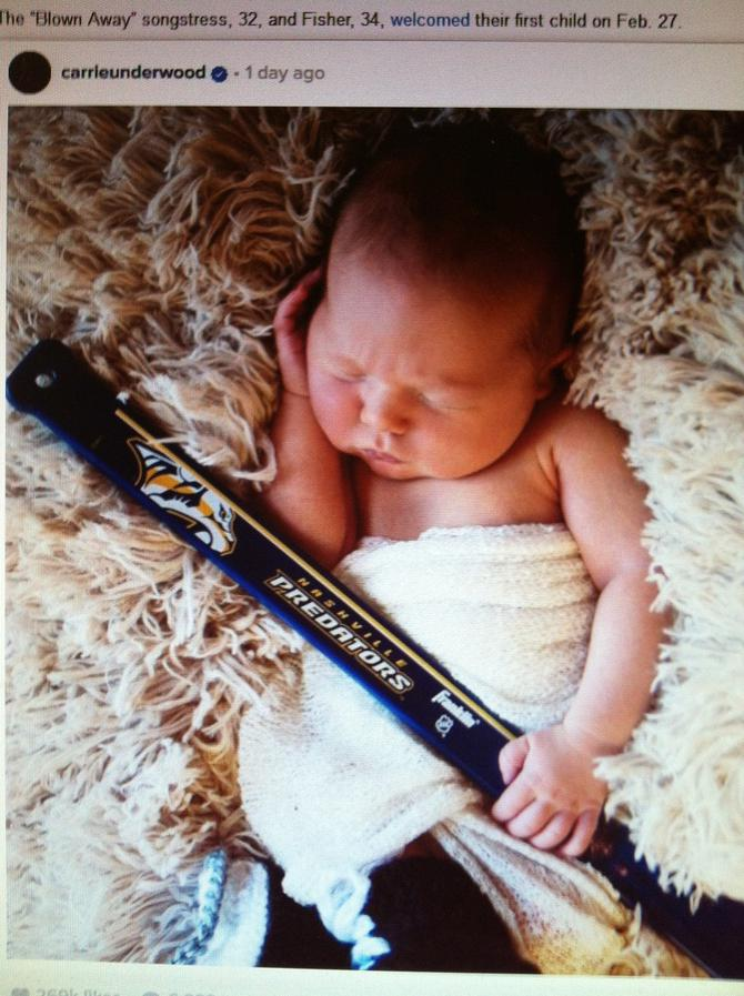 Mike fisher and carrie underwood introduce son isaiah for Mike fisher and carrie underwood baby