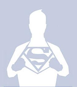 Drawing of a Facebook profile picture of a man wearing a Superman fantasy.