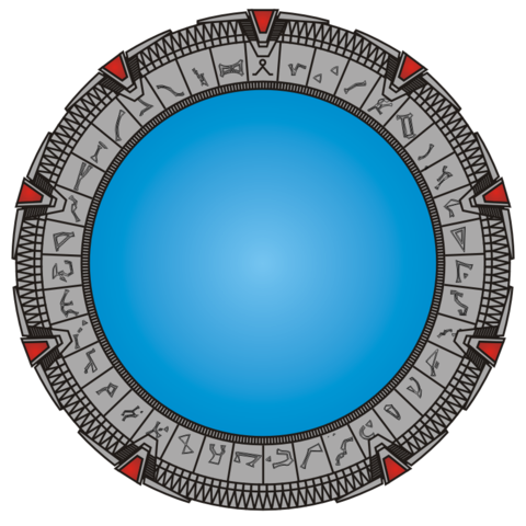 A colored drawing of the fictional Stargate in Cheyenne Mountain