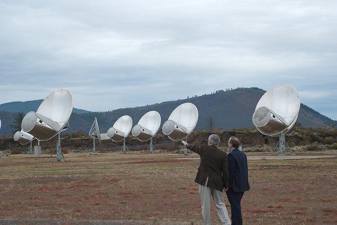 Front view of antennas of the Allan Telescope Array, a radio telescope for combined radio astronomy and SETI (search for extraterrestrial intelligence) research being built by the University of California at Berkeley, outside San Francisco.