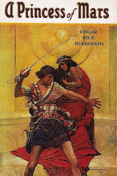 Cover art by Frank E. Schoonover from A Princess of Mars by Edgar Rice Burroughs, McClurg, 1917.