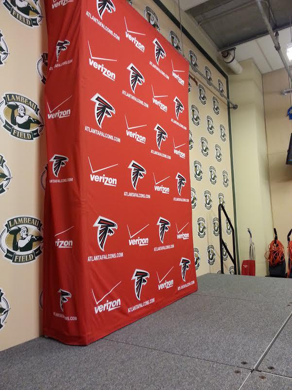 off to the locker room media room for the falcons