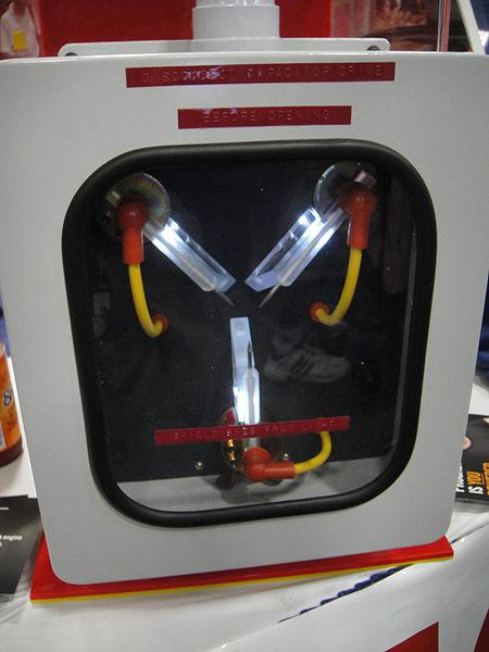 Flux capacitor from the film Back to the Future Part III displayed at the 2011 Comic-Con International.