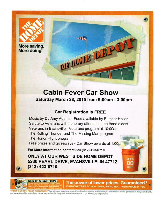 Cabin Fever Car Show This Saturday At West Home Depot In