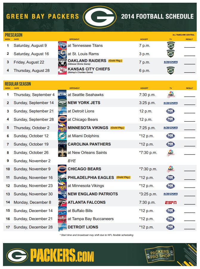 Green Bay Packers 2014-2015 Schedule
