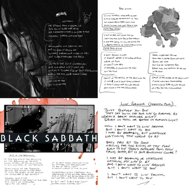 black sabbath has posted hand written lyrics to many songs